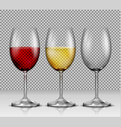 set transparent wine glasses empty with vector image