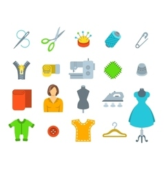 Sewing tools flat icons vector image vector image