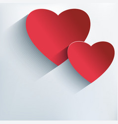 Stylish Valentine background with 3d red heart vector image