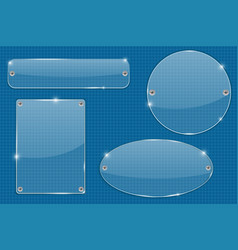 transparent plate on blueprint grid vector image