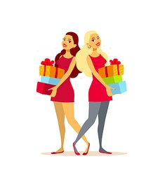two young girls with gift boxes on light vector image