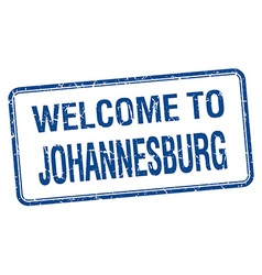 Welcome to johannesburg blue grunge square stamp vector