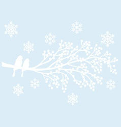 winter tree with berries and birds vector image vector image