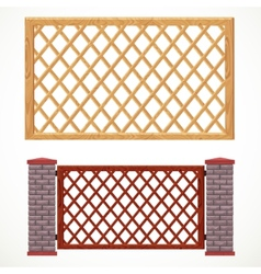 Wooden fence from crossed planking and with post vector image