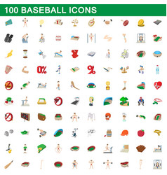 100 baseball icons set cartoon style vector