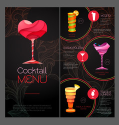 3d cocktail design happy valentines day vector