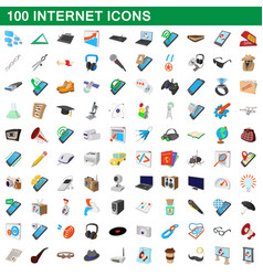 100 internet icons set cartoon style vector