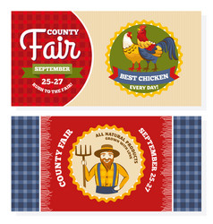 County fair vintage invitation cards vector