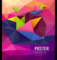 origami paper birds shape geometric design vector image