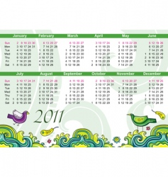 Calendar for 2011 with flowers vector