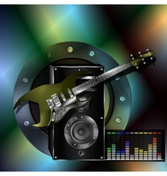 Musical background with a guitar and a speaker vector
