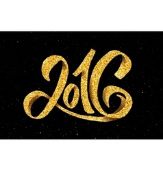 New year 2016 gold glittering vector