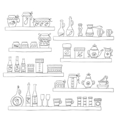 Kitchen set in  stylish design elements of vector