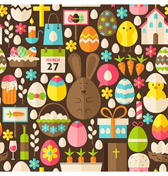 Happy Easter Holiday Flat Brown Seamless Pattern vector image