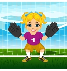 Young female goalkeeper in a ready position vector image