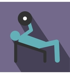 Man trains in the gym bar bench press icon vector