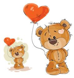 a brown teddy bear holding vector image vector image