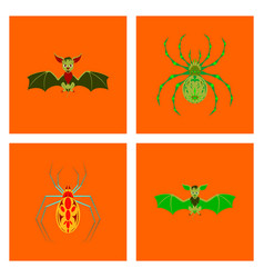 Assembly flat halloween spider bat vector