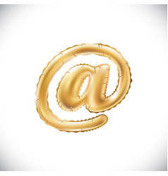 Balloon mail symbol realistic 3d isolated gold vector