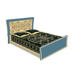 Blue family bedbed with black painted covers and vector