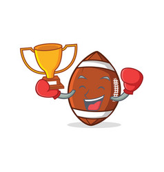 Boxing american football character cartoon winner vector