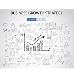 Business growth strategy with doodle design style vector