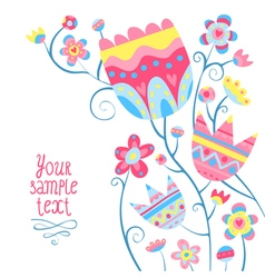 Card background with colorful flowers vector image