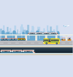 City public transport and transit vector