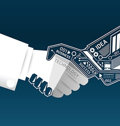 Creative handshake abstract circuit technology vector