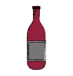 Drawing wine bottle with cork empty label vector