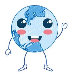 Earth planet school kawaii character vector