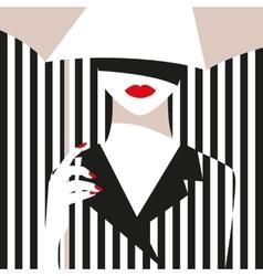 Fashion girl with an umbrella bold minimal style vector