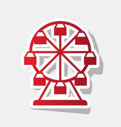 Ferris wheel sign new year reddish icon vector