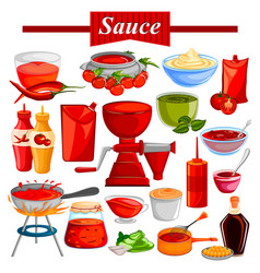 Food and spice ingredient for chilli and tomato vector