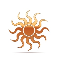 Gold sun-sign icon on white background vector