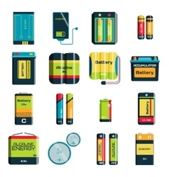 Group of different size color batteries vector