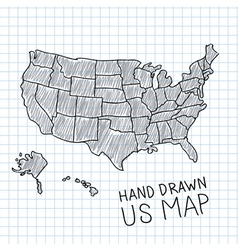 Hand drawn us map on chalkboard royalty free vector image hand drawn us map vector image sciox Images