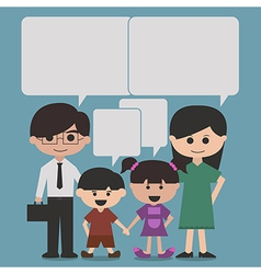 happy family cartoon character with speak bubbles vector image vector image