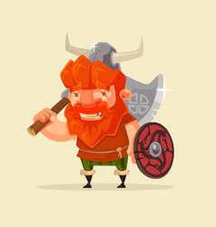 happy smiling friendly viking man character mascot vector image