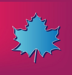 Maple leaf sign blue 3d printed icon on vector