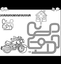 Maze with bike for coloring vector