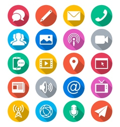 Media and communication flat color icons vector image