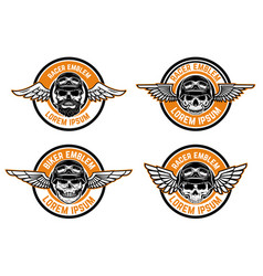 racer emblems set of winged emblems with skulls vector image