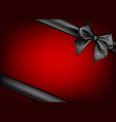 Red holiday background with black bow vector