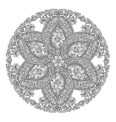 Round floral mandala vector