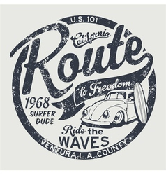 Route to freedom vintage surfing vector