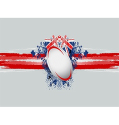 rugby ball on a grunge background with flag vector image