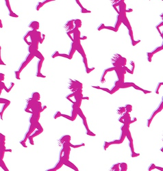 Runners realistic silhouettes seamless vector image vector image
