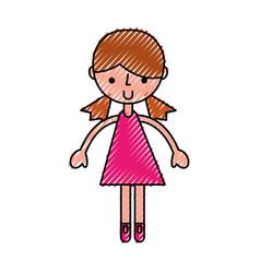 Scribble pink girl cartoon vector