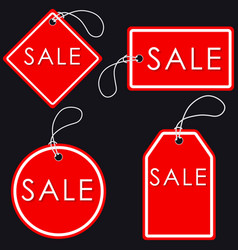 Set of bright red-white sale banners label and vector